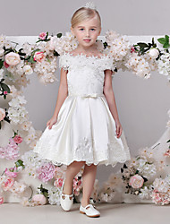 cheap -A-Line Tea Length Flower Girl Dress - Satin Short Sleeve Off Shoulder with Bow(s) / Sash / Ribbon by