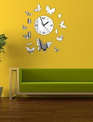 cheap -2016 New Sale Wall Acrylic Wall Sticker Stickers Home Decor Europe Large 3d Clock Kitchen Horse Butterfly Mirror