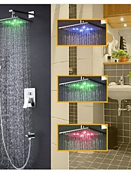Contemporary Rain Shower Handshower Included Thermostatic LED Brass Valve Two Holes Single Handle Two Holes Chrome , Shower Faucet