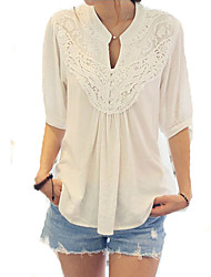 Women's Casual/Daily Cute Spring Blouse,Patchwork V Neck Chiffon Opaque