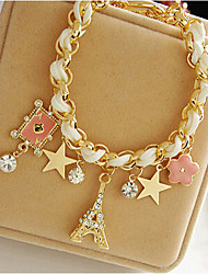 cheap -Leather Crown Star Charm Bracelet - Cute Party Tower Crown Star White Bracelet For