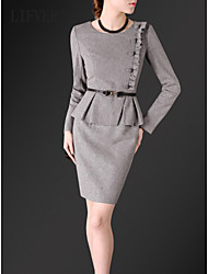 LIFVER Women's Round Neck Long Sleeve Above Knee Dress - J41