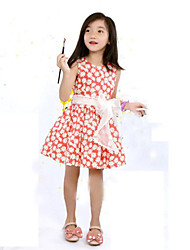 Girl's Green / Red Dress , Floral Polyester Summer