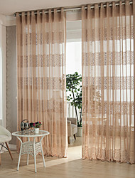cheap -Grommet Top Pencil Pleat Two Panels Curtain Country Modern Designer , Hollow Out Geometic Curve Living Room Polyester Material Sheer
