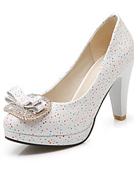cheap -Women's Shoes Synthetic Spring Summer Fall Heels Chunky Heel Round Toe Rhinestone Bowknot for Wedding Casual Party & Evening White Blue