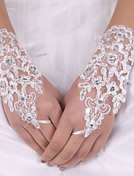 cheap -Silk Elastic Satin Wrist Length Glove Bridal Gloves With Bow
