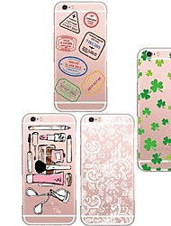 cheap -Case For iPhone 5 Case Transparent Pattern Back Cover Tile Soft TPU for iPhone SE/5s iPhone 5