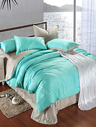 cheap -Silver gray and green 100% Tencel Soft Bedding Sets Queen King Size Solid color Duvet Cover Set
