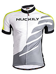 Nuckily Cycling Jersey Men's Short Sleeves Bike Jersey Tops Quick Dry Anatomic Design Moisture Permeability Front Zipper Water Bottle