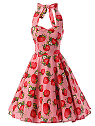 Women's Pink Strawberry Pattern Floral Dress , Vintage Halter 50s Rockabilly Swing Dress
