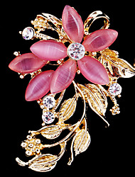 cheap -Women's Brooches - Crystal, Cubic Zirconia, Opal Flower Party, Work, Casual Brooch White / Pink For Wedding / Party / Special Occasion