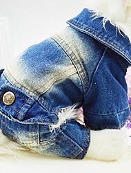 Hund Overall Jeansjacken Hundekleidung Cowboy Modisch Jeans Weiß Blau
