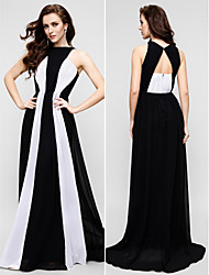 Sheath / Column Jewel Neck Floor Length Chiffon Prom Formal Evening Dress with Pleats by TS Couture®
