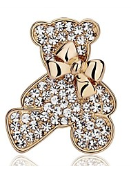 cheap -Women's Fashion Rhinestone Silver Plated Gold Plated Bowknot Bear Animal Gold Silver Jewelry For Wedding Party Casual