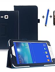billiga -fodral Till Samsung Galaxy med stativ / Automatiskt sömn- / uppvakningsläge / Lucka Fodral Enfärgad Hårt PU läder för Tab 3 Lite