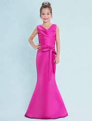 cheap -Mermaid / Trumpet V-neck Floor Length Satin Junior Bridesmaid Dress with Criss Cross by LAN TING BRIDE®