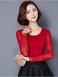 cheap -Women's Solid Red / Black Blouse , Round Neck Long Sleeve