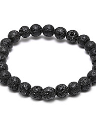 cheap -Black Lava Beads Strand Bracelet - Bracelet Matt black For Christmas Gifts / Wedding / Party