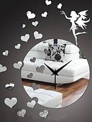 Modern 3D DIY Frameless Fairy Love Sticker Wall Clock Watch Home Room Decor