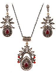 May Polly  Hot retro Ruby Necklace Earrings Set