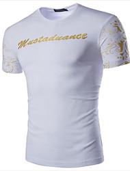 Camiseta De los hombres Estampado-Casual-Algodón-Manga Larga-Negro / Azul / Blanco
