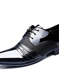 cheap -Men's Shoes Patent Leather Spring Fall Comfort Oxfords Lace-up for Wedding Office & Career Party & Evening Black Brown