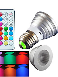 cheap -E26/E27 LED Spotlight MR16 1 High Power LED 300 lm RGB RGB K Dimmable Remote-Controlled Decorative AC 100-240 V