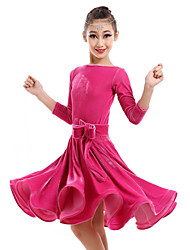 Danse latine Robes Enfant Spectacle Velours 1 Pièce Robe