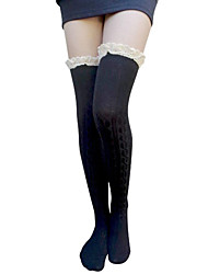 cheap -Womens Lolita Cosplay Over-Knee Highs Lace Trim Knit Cotton Socks