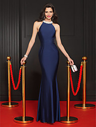 cheap -Mermaid / Trumpet Jewel Neck Floor Length Jersey Prom Formal Evening Dress with Beading by TS Couture®