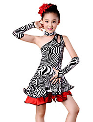cheap -Latin Dance Outfits Performance Spandex Milk Fiber Ruffles Dress Sleeves Neckwear