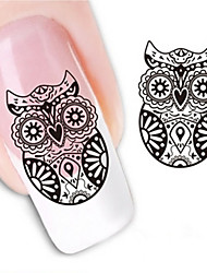 Water Transfer Printing Owl Pattern Nail Stickers