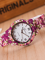 cheap -Women's Quartz Wrist Watch Casual Watch Plastic Band Flower Fashion Rose