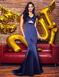 cheap -Mermaid / Trumpet V-neck Sweep / Brush Train Satin Prom Formal Evening Dress with Pleats by TS Couture®
