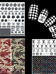 cheap -4 Sheets Watermark Transfers 3D Nail Stickers Decals Foil Nail Art Decorations Tools Accessories