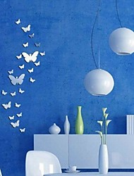 2016 New 30 Butterfly Real Promotion Home Decorations Diy Silver Mirror Wall Sticker Large Decal 3D Stickers