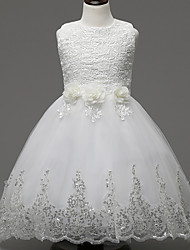 cheap -A-Line Knee Length Flower Girl Dress - Lace Organza Sleeveless Jewel Neck with Appliques Sash / Ribbon Flower by YDN