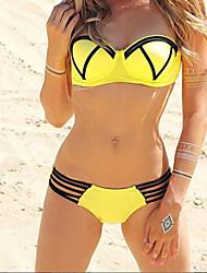 Bikinis / Tankinis Aux femmes Couleur Pleine Soutien-gorge à Armatures Bandeau Spandex