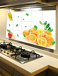 cheap -Removable Kitchen Oilproof Wall Stickers with Orange Fruit Style Water Resistant Home Art Decals