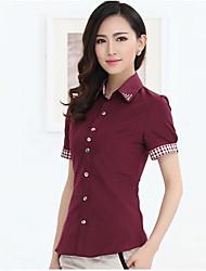 abordables -Mujer Simple Trabajo Algodón Camisa, Cuello de Peter Pan Retazos / Verano