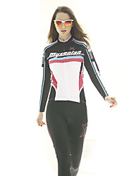 cheap -Mysenlan Women's Long Sleeve Cycling Jersey - Black / Blue Bike Jersey, Breathable Polyester
