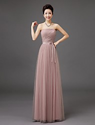 Sheath / Column Strapless Floor Length Tulle Bridesmaid Dress with Bow by QQC Bridal
