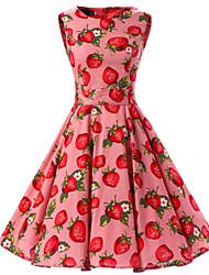 cheap -Women's Rockabilly Vintage Dress Pink Strawberry Round Neck Knee-length Sleeveless Cotton All Seasons Mid Rise