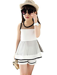 Girl's Striped Clothing Set,Polyester Summer White