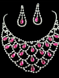 cheap -Bridal Wedding Bridesmaid Pink Diamantes Rhinestone Crystal Celebrity Inspired Jewelry Sets