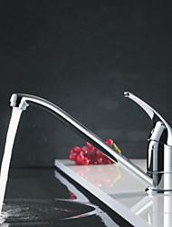 Недорогие -Современный Стандартный Носик Настольная установка Вращающийся Керамический клапан Одной ручкой одно отверстие Хром , кухонный смеситель