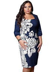 Robe Aux femmes Grandes Tailles / Moulante Sexy,Fleur Col Carré Mi-long Coton / Polyester