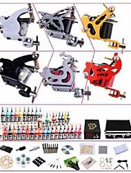 basekey professionelle Tattoo-Set kw06b 6 Maschinen mit Netzteil Griffe 40x5ml Tinte Nadeln