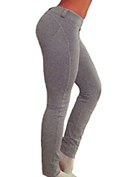 cheap -Women's Cotton Spandex Medium Solid Color Legging,Solid Black Gray Red Blue Khaki