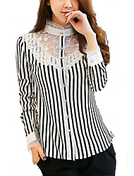 cheap -Women's Going Out  Black and White Strip Long Sleeve Chiffon Shirt